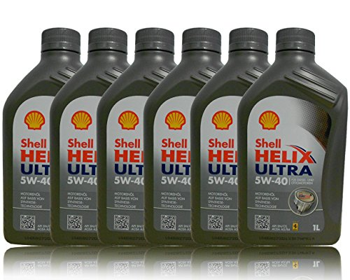 Shell Helix Ultra 5W-40 motorolie, 100% synthetisch, 6 containers
