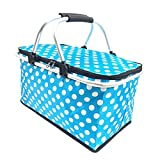 KUYUC Cesta Picnic Plegable, Portátil Cesta de Compras Aislada, Bolsa de Refrigeración Bolsa de Almuerzo para Transporte de Comida y Bebida (Color : Blue, Size : 25L)
