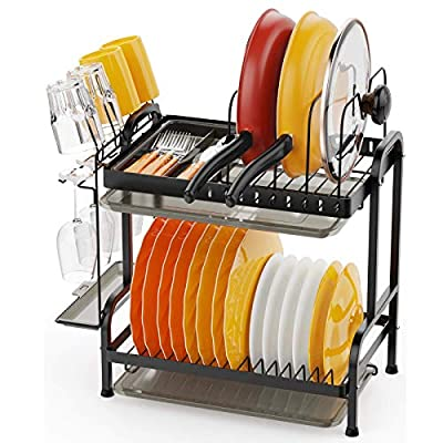 Dish Drying Rack, Swedecor 2 Tier Dish Rack wit...