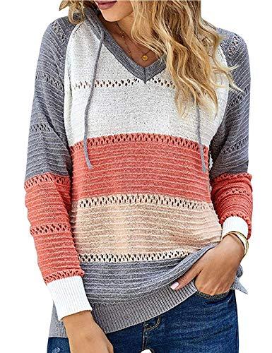 NMVB Frauen Striped Farben-Block-gestrickter Pullover aushöhlen mit V-Ausschnitt Langarm-beiläufige Pullover Pullover Pullover S - 5XL (Color : Orange, Size : XX-Large)