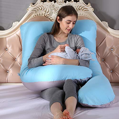 Grandma Shark 100% Baumwolle U Body Case nur Schwangerschaft Mutterschaft Körper zurück Unterstützung Kissenbezug (hellblau 155cm+Kissenbezug)