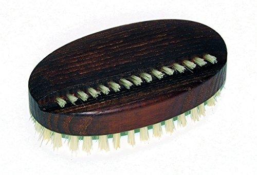 Brosse à ongles et à main - ovale - en bois thermobactérien antibactérien et poils naturels clairs, idéale comme brosse de nettoyage, ongles, brosse, dimensions 92 x 50 mm, fabriquée en Allemagne.