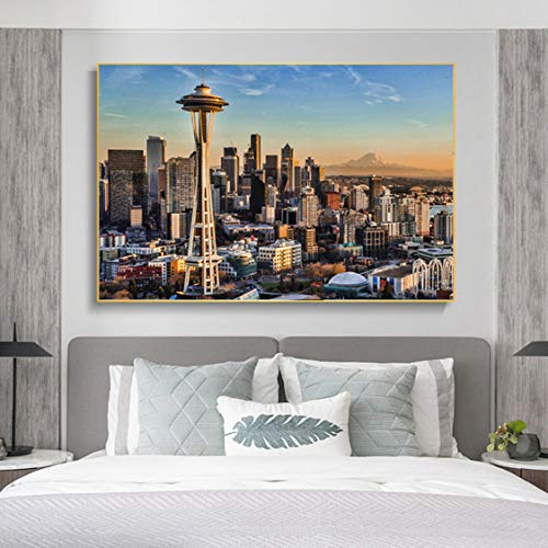 Danjiao Seattle Poster Moderne Dekoration Stadtbild Malerei Landschaft Sonnenuntergang Leinwanddruck Wandbild Für Wohnzimmer Wohnkultur Wohnzimmer 60x90cm