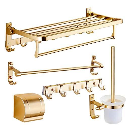 Porta Salviette GFMING Porta Asciugamani Appendiabiti Da Bagno Set 5 Set Portasciugamani Gratuito Mensole Bagno Alluminio In Alluminio (Oro) Appendiabiti Da Parete Per Bagno (Color : Gold)