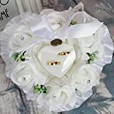 ZJL220 Caja de anillos con diseño de hojas de flores, cojín para decoración de boda, regalo romántico
