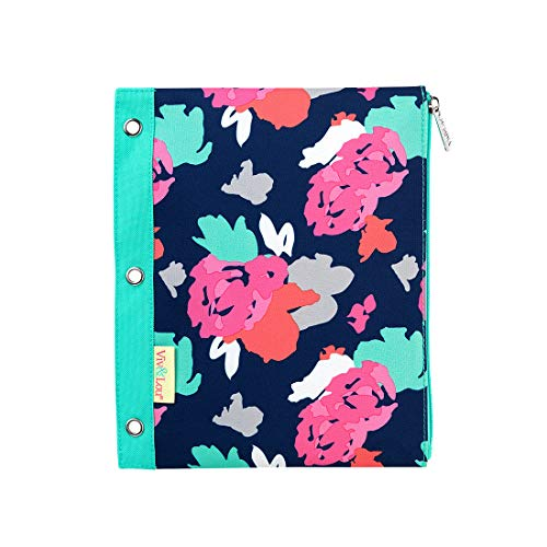 Amelia Floral Pink and Blue 11 x 9 Polyester Fabric Zip Binder Pouch Pencil Bag