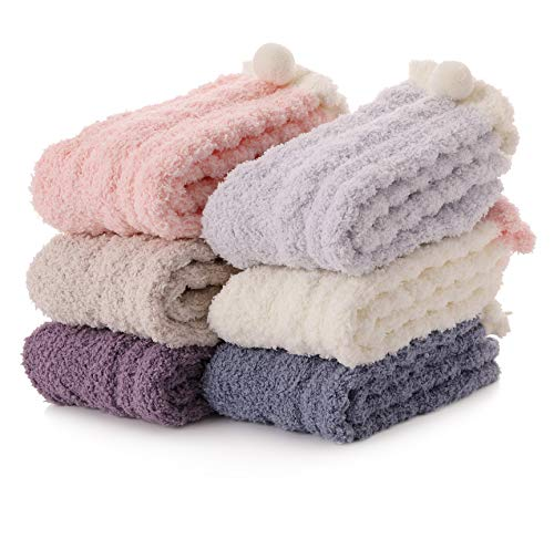 Womens Fuzzy Slipper Socks Soft Cabin Warm Cute Cozy Fluffy Winter Christmas Slipper Socks 6 Pairs (Solid Color)