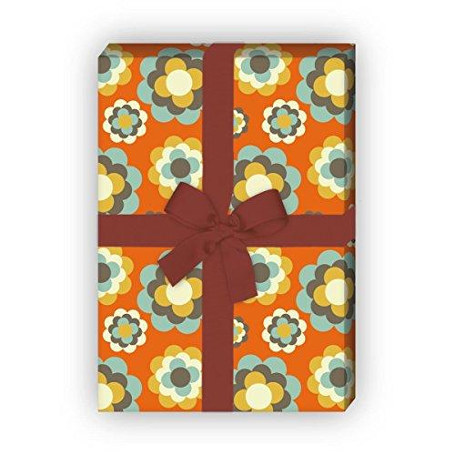 Kartenkaufrausch Trendiges 70er Jahre Geschenkpapier Set mit Retro Streu Blüten für tolle Geschenk Verpackung, Designpapier, scrapbooking, 4 Bogen, 32 x 48cm, in orange