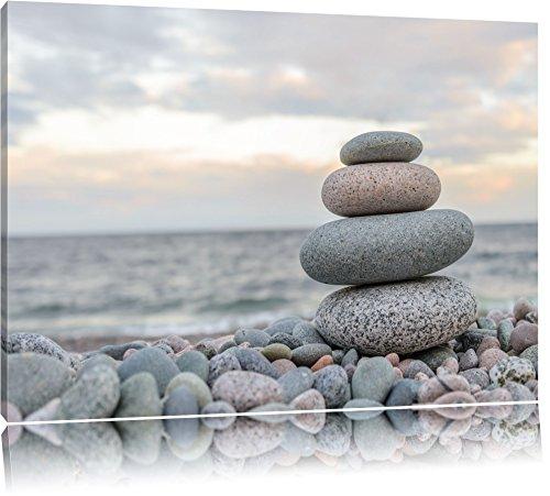 Steinturm am Strand Format: 120x80 auf Leinwand, XXL riesige Bilder fertig gerahmt mit Keilrahmen, Kunstdruck auf Wandbild mit Rahmen, günstiger als Gemälde oder Ölbild, kein Poster oder Plakat
