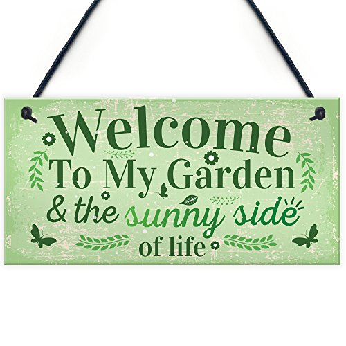 RED OCEAN Welcome To My Garden Plaque Outdoor Shed Summer House Sign Novelty Chic Decor Friendship Gift
