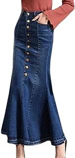 Women's Denim Classic Mermaid Button Up High Waist Long Skirt