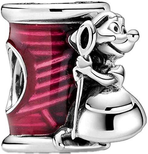 Beads R Us  - Sterling Silver Suzy Mouse with Needle and Cerise Enamel thread, Compatible with all European style Charm Bracelets, Necklaces & Anklets.