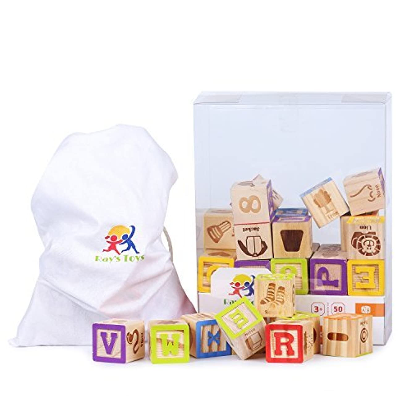 Ray's Toys Wooden Alphabet Blocks Set Colorful ABC & 123 Toddler Blocks w/ Cloth Storage Pouch/ Sturdy, Durable Learning Alphabet Building Blocks for Kids/ Top Educational Toy/ Great Gifting Idea