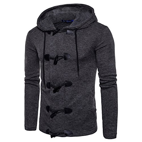 Celucke Herren Strickpullover Duffelcoat mit Kunstfell-Futter,Winter Warm Mantel Pullover Casual Sweatshirt Langarm Winterpullover