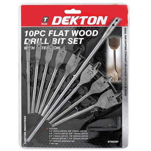 Dekton Dt8029010pc Plat bois forets 6–10–13–16–20–22–1 Argent