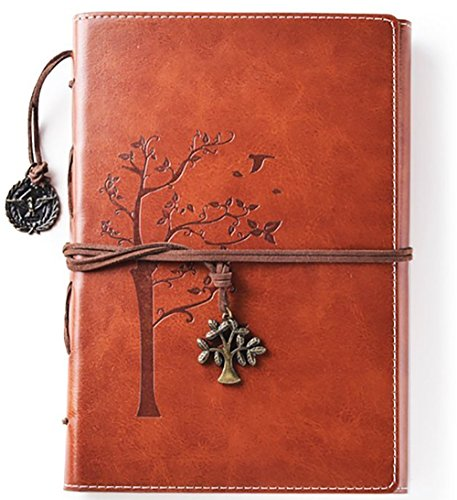 Lined Refillable Vintage Writing Journal for Women, Retro Tree of Life Faux Leather Cover Notebook/Travel Diary,Wide Ruled Paper,Daily Use Gift for Bloggers/Teachers/Back to College Students (Brown)