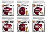 Tassimo Coffee Costa Selection - Costa Latte/Costa Cappuccino/Costa Americano Coffee Pods - 6 Packs (64 Drinks)