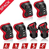 Kids/Child Knee Pads Set, Knee Pad Elbow Pads Guards Protective Gear Set for Roller Skates Cycling Bike Skateboard Inline Skatings Scooter Riding Sports (Black, 6pack)