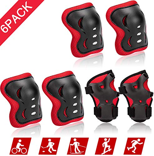 Kids/Child Knee Pads Set, Knee Pad Elbow Pads Guards Protective Gear Set for Roller Skates Cycling Bike Skateboard Inline Skatings Scooter Riding Sports (Black+Red)