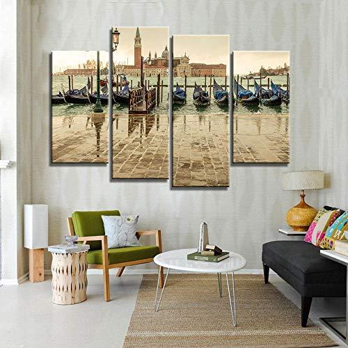 ANTAIBM® 4 Wandkunst-Malplakat Holzrahmen - verschiedene Größen - verschiedene StileDruck Ölgemälde Wandkunst, Wanddekoration, Wandmalerei Venedig Italien Sonnenuntergang Vertikale Malerei Schöne Male