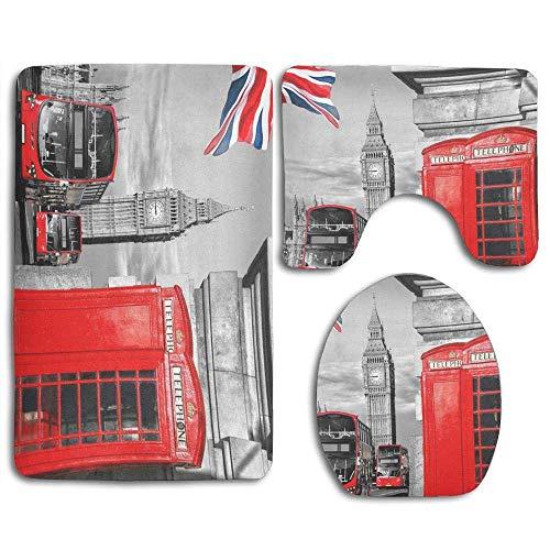 Símbolos de Londres con Big Ben Union Jack Alfombra de baño Juego de 3 Piezas Alfombra de baño Antideslizante Alfombra de Contorno y Tapa de Inodoro para baño
