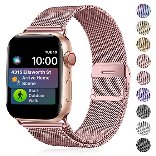 Funbiz Compatibel met Apple Watch Metaal Bandje 38mm 40mm 42mm 44mm, Flexibel Ademend Roestvrij Staal Mesh Armband Smartwatch Vervangende Band per Series 5 4 3 2 1, 38mm/40mm-Rose goud
