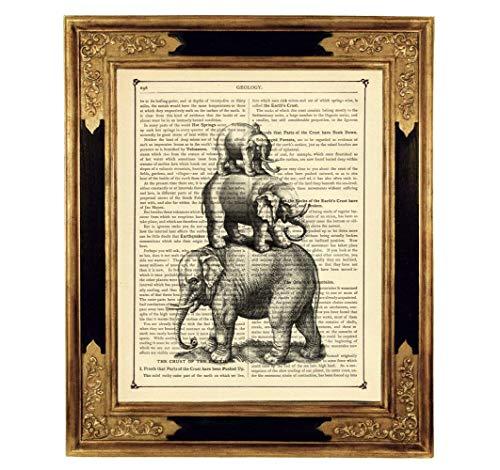 Elefanten Pyramide Zirkus Poster Kunstdruck auf viktorianischer Buchseite Surrealismus Bild Geschenk Steampunk ungerahmt