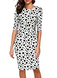 Women Dress for Office Work Casual Ladies Classic Vintage 50's Half Sleeve Dinner Sheath Retro Wedding Guest Print Clothes 950 (XXL, White Dot)