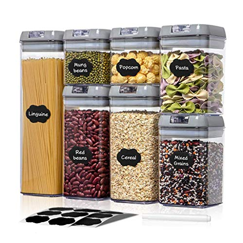 HYRGLIZI Juego de frascos de plástico para Almacenamiento de Alimentos de 5/7 Piezas con Tapa Duradera, latas Selladas a Granel de Cocina, contenedor de Tanque multigrano para frigorífico, para Pasta