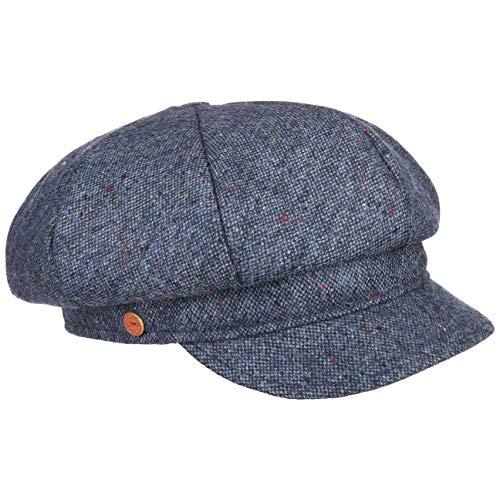 Mayser Tweedy Balloncap Ballonmütze Damencap Wintercap Wollcap Wollmütze Mütze Damenmütze Damenkappen Wintercaps (L (58-59 cm) - blau-meliert)