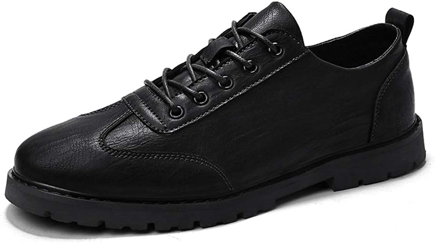 Easy Go Shopping Sneakers for Men Athletic Sport shoes Lace up Microfiber Leather Running Skating Work Cricket shoes (color   Black, Size   8.5 UK)