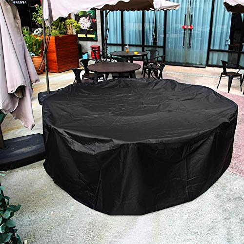 Innoo Tech Garden Furniture Covers, Patio Furniture Covers Waterproof, Heavy Duty 420D Oxford Fabric Round Windproof Anti-UV Garden Table Covers(Waterproof Upgraded Version)