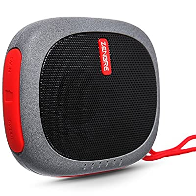 Portable Speakers, ZENBRE D3 mini Wireless Bluetooth Speaker with 20 Hours Play Time, Power Bank and Support TFcard (Red) from ZENBRE Technology
