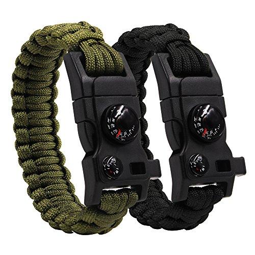 Kit di equipaggiamento di emergenza per braccialetti Paracord da 2 pacchi per campeggio Braccialetti da sopravvivenza per trekking da trekking (12 in 1)