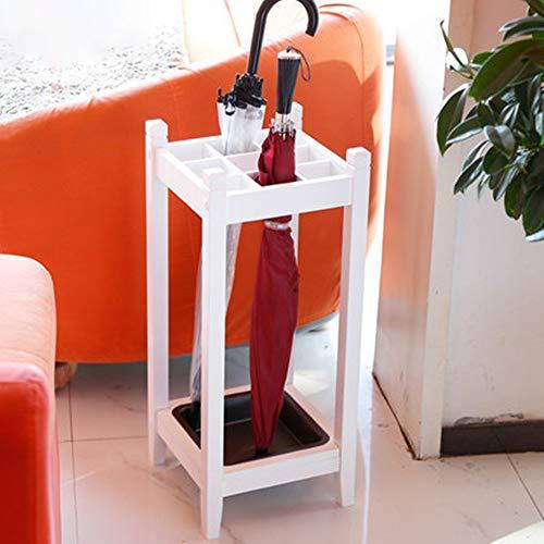 Portaombrelli salvaspazio a forma di canna, supporto per ombrelli, sala da lavoro, modernistico bianco in legno sostanziale ombrello portaombrelli con vassoio antigoccia, Legno, bianco, Taglia libera
