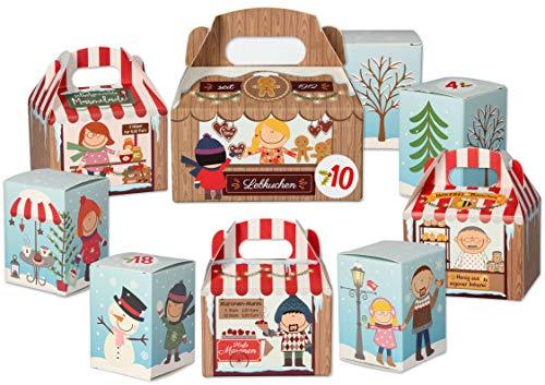KuschelICH Adventskalender zum Befüllen - Weihnachtskalender mit 24 Schachteln und Adventskalenderzahlen - wiederverwendbar