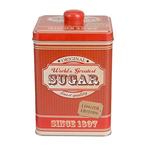 SANIFRI Keksdose Aufbewahrungsdose Gebäckdose eckig, Vintage Design, (10,5x17cm), Rot
