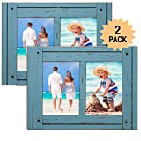 Excello Global Products Rustic Shabby Chic Turquoise Blue Weathered Distressed Vintage Style Wooden Picture Frame with Self-Stand Easel, Each Frame Holds Two 5'x7' Photos (Pack of 2)