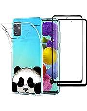 MUTOUREN Funda para Samsung Galaxy A71 (5G) Transparente Carcasa TPU Silicona Case Cover, con 2* Gratis [Vidrio Templado], Ultra Delgado Anti-arañazos Cubierta Bumper, Panda
