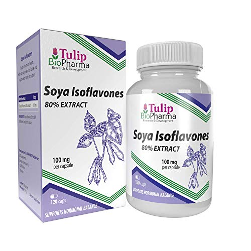 SOYA Isoflavones 80% Extract 120 Capsules Non-GMO Supports Hormonal Health, 2 Months Supply
