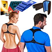 Posture Corrector for Women & Men + Resistance Band for Fix Upper Back Pain - Adjustable Posture Brace for Improve Bad Posture | Thoracic Kyphosis Brace by Only1MILLION