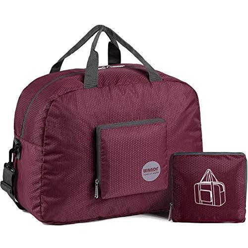WANDF Foldable Travel Duffel Bag Luggage Sports Gym Water Resistant Nylon (Wine Red, 20L)