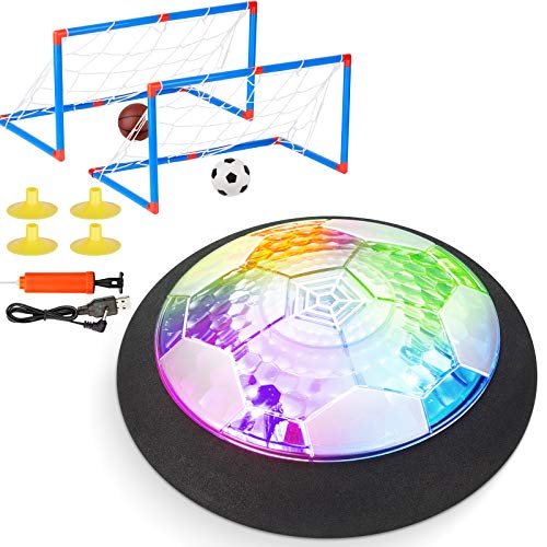 Retruth Hover Soccer Ball Rechargeable with 2 Goals - Cool Disco Light - Soft Foam Bumper Protects Walls and Furniture (No AA Batteries Needed)