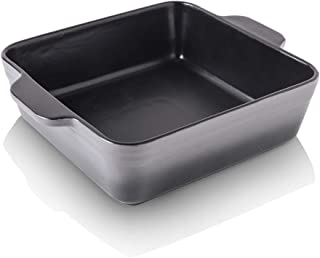 KOOV Ceramic Baking Dish, Square Brownie Pan for Cake Dinner, Kitchen, 8 x 8 inch Baker, Gradient Series (Gray)