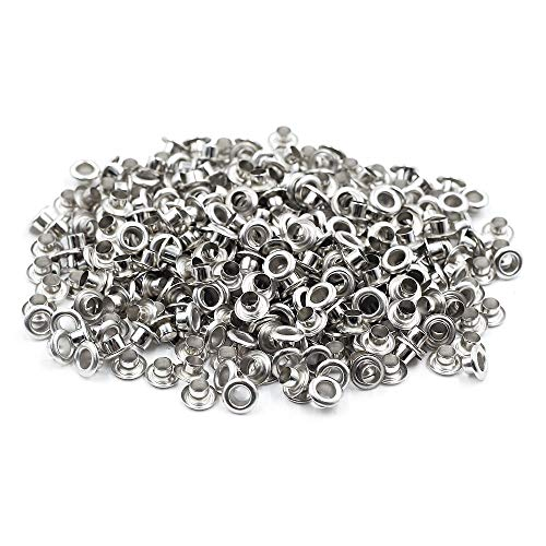 Mecion 500pcs 4mm Internal Hole Diameter Stainless Steel Grommets Eyelets with Washer Self Backing, Silver