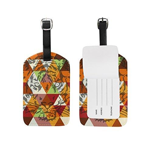 TIZORAX Poster geometrico con volto di tigre in pelle PU per bagagli etichette valigia, 1 pezzo