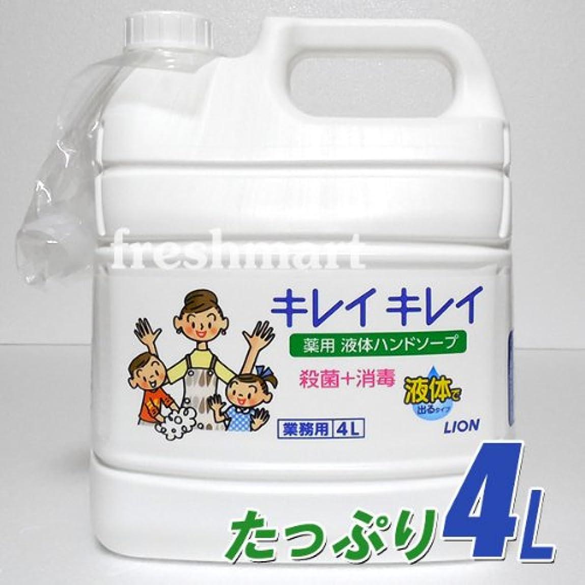哲学者調査堤防☆100%植物性洗浄成分使用☆ ライオン キレイキレイ 薬用液体ハンドソープ つめかえ用4L 業務用 大容量 ボトル