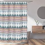 KB und Me Boho Chic Bohemian Blaugrün geometrisch dekorativer Badezimmer-Duschvorhang 72x183 cm modern rustikal südwestlich bunt Azteken-Muster Triangle Urban Room Decor