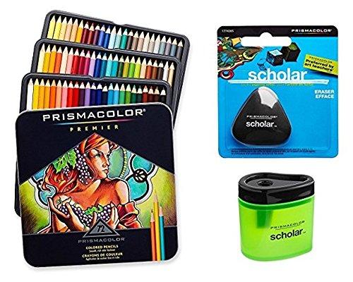 Lot de 72 crayons de couleur Prismacolor Premier - Couleurs assorties (3599TN) - Mine souple + Taille crayon de couleurs Prismacolor Scholar (1774266) + Gomme sans latex Prismacolor Scholar (1774265)