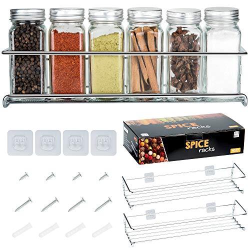 Deco Haus Organizador Especias - Set 2 Estantes de Metal - Estantes de Cocina, Armario, Organizador de Condimentos - Compatible con Nuestros Frascos - Adhesivos o con Tornillos - Plata, 29x6.35x5cm